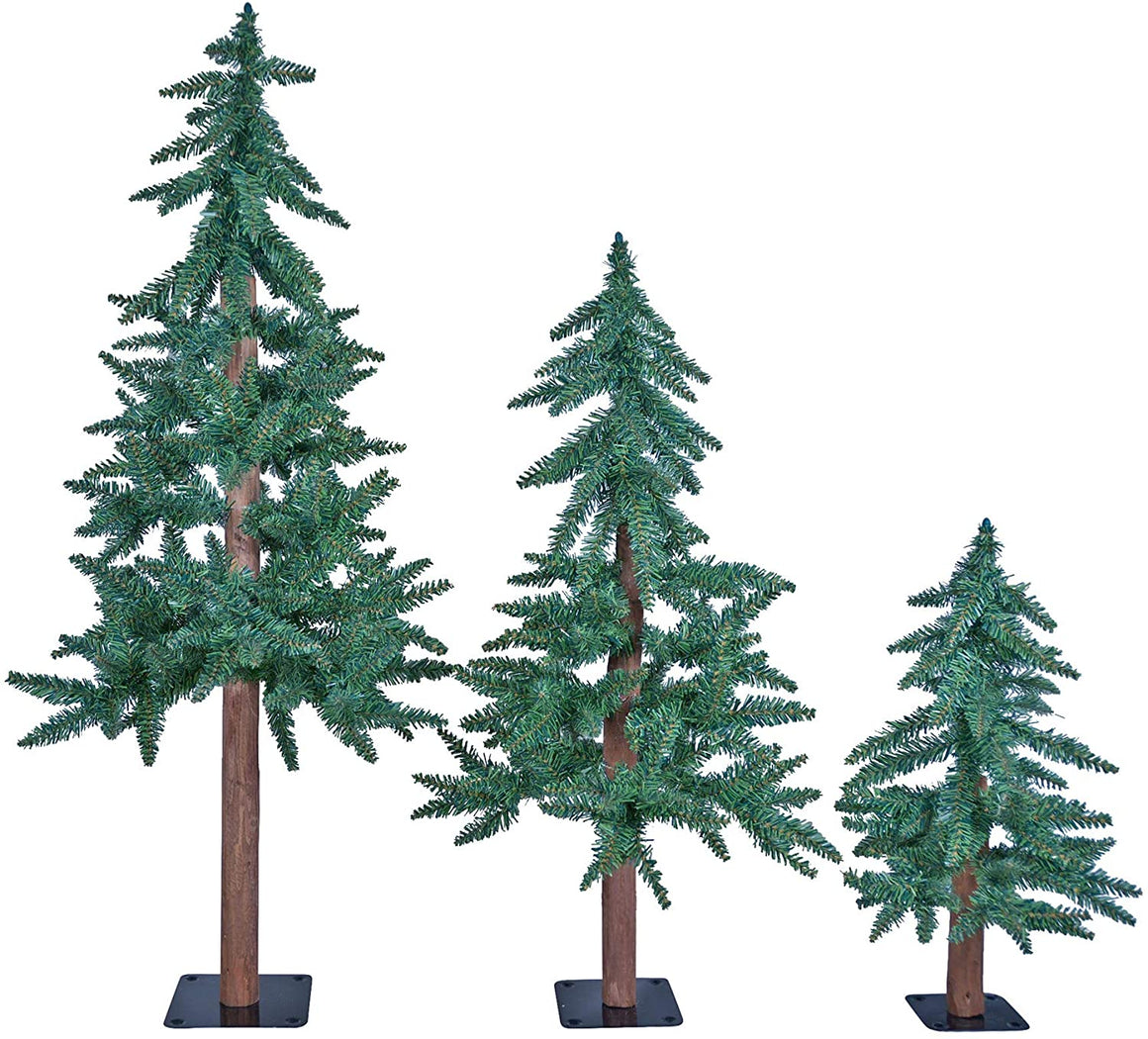 TenWaterloo Set of 3 Christmas Artificial Noble Fir Pine Trees with Wood Trunks- 26 Inches, 37 Inches, 50 Inches High Artificial Alpine Trees