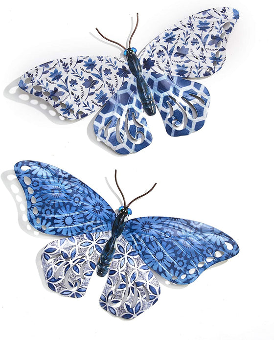 Set of 2 Metal Enameled Butterfly Hanging Wall Art, 13.5 Inches 8 Inches, 2 Designs, French Chinoiserie Style