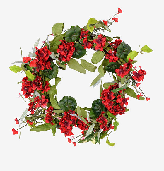 Ten Waterloo 22 Inch Red Artificial Geranium Wreath on Natural Twig Base