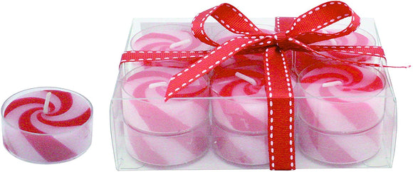Set of 12 Red and White Christmas Tea Light Candles, Unscented