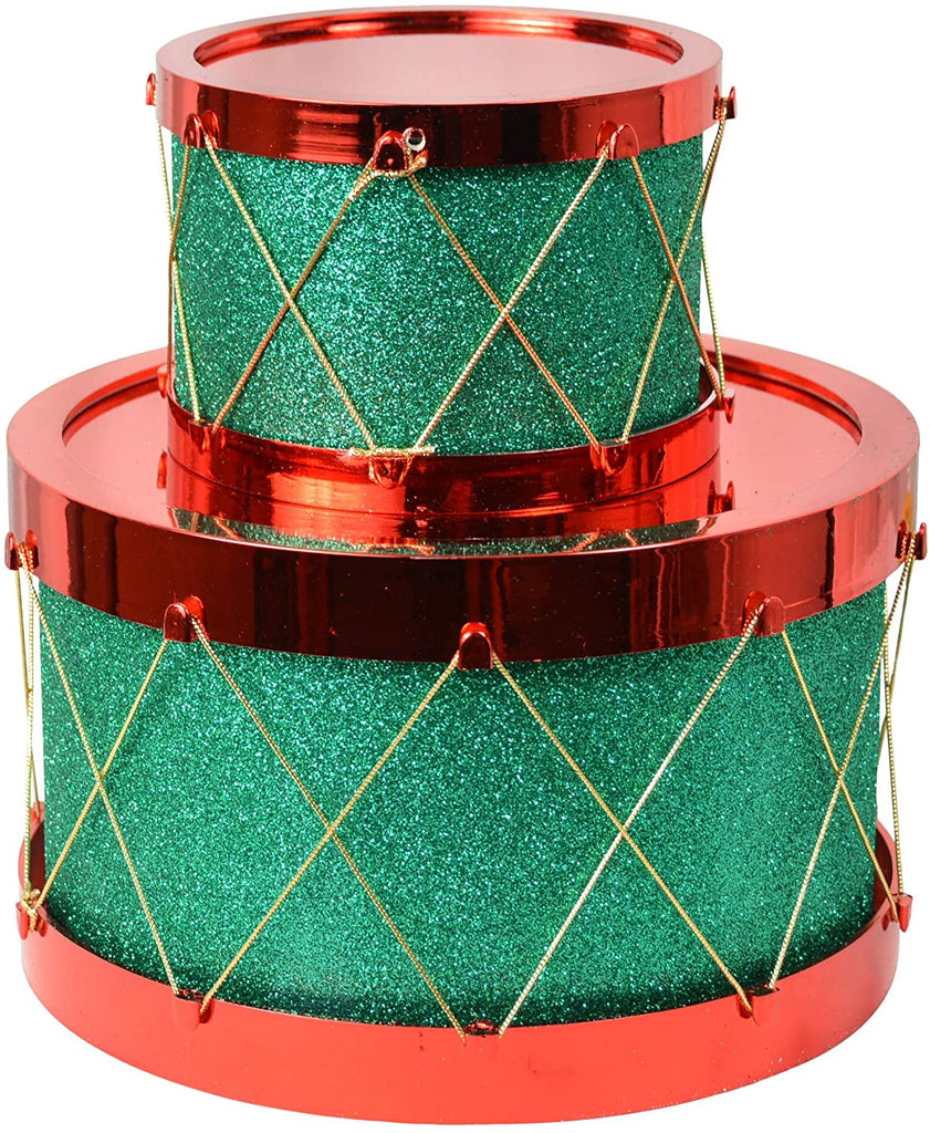 Set of 2 Christmas Decorative Drums, Sparkling Green with Gold and Red, 8.5 Inches and 5.25 Inches