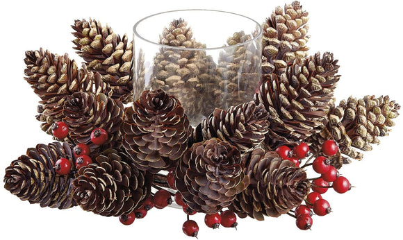 TenWaterloo 14 Inch Pine Cone and Berries Christmas Pillar Candle Holder with Glass Hurricane, Faux Seasonal