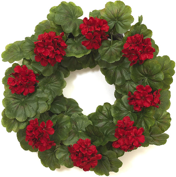 20 Inch Artificial Red Geranium Wreath, Front Door Wreath