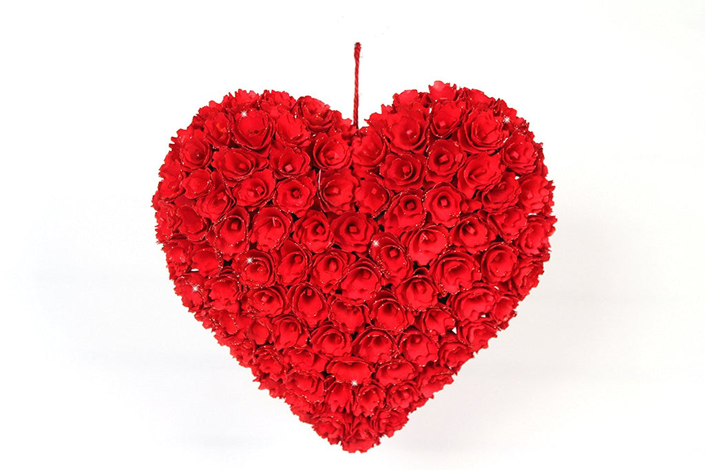 12.75 Inch Red Roses Heart Wreath in Wood Curls and Spirals, Valentine's Day Artificial Floret Decor with Lightly Edged Glittered Tips