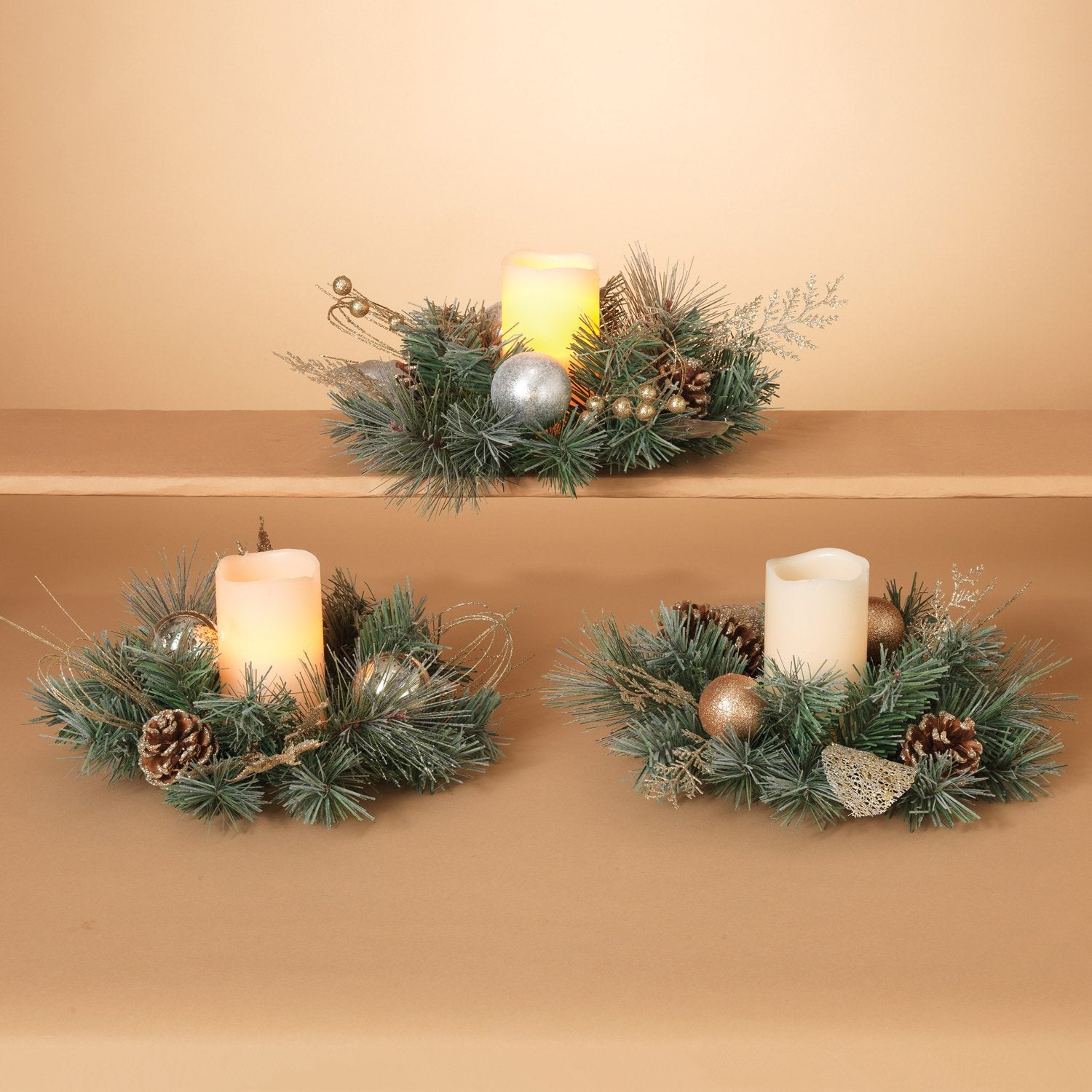 set of 3 christmas candle rings 10 inches diameter gold and silver with artificial pine - Decorative Christmas Candle Rings
