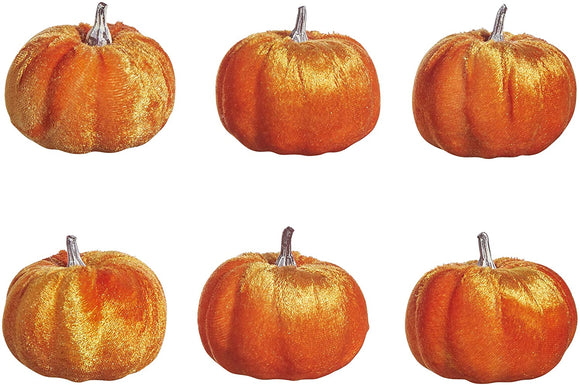 Raz Set of 6 Orange Small Velvet Pumpkins, 2.75 Inches Each, Decorative Small Artificial Pumpkins, Fall Decor