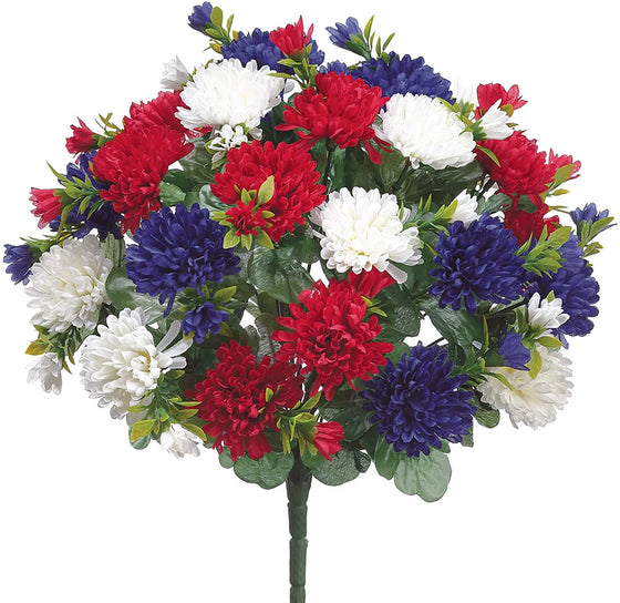Allstate 15 Inch Artificial Mum Flowers in Patriotic Red, White and Blue, Artificial Mum Bush
