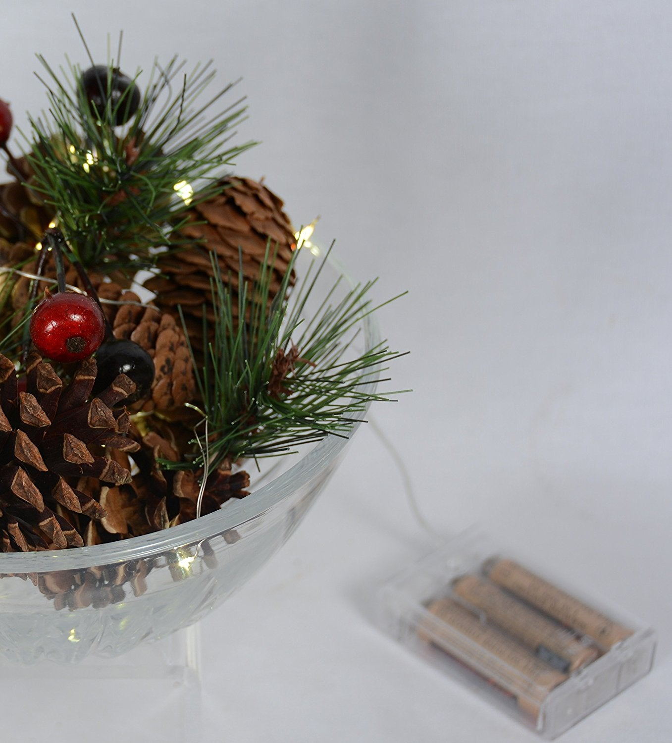 Lighted christmas and holiday pine cones and berries bowl filler lighted christmas and holiday pine cones and berries bowl filler vase filler battery operated led lights floridaeventfo Images