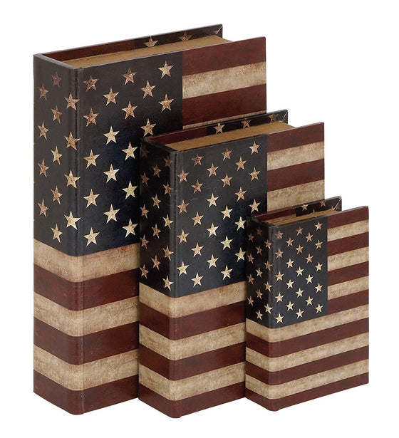 Ten Waterloo Set of 3 Patriotic Wrapped Wood Book Boxes, Well Crafted Book Storage with American Flag 12, 9 and 6.5 Inches High