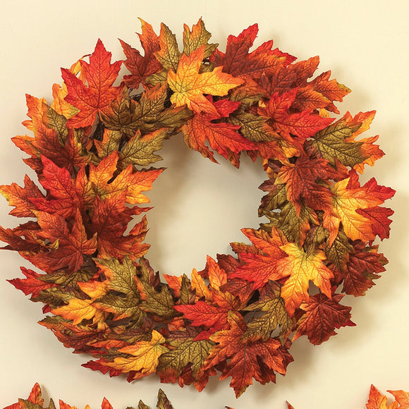"Mission Gallery 24"" Mixed Color Maple Leaf Wreath"