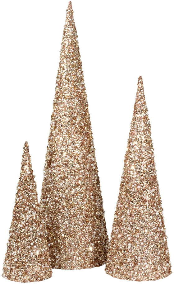 Set of 3 Champagne Gold and Pearl Glittered Christmas Topiary Trees- 23 Inches, 17 Inches and 11.5 Inches High