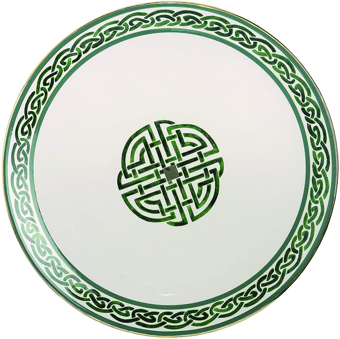 St Patrick's Day Celtic Knot Ceramic Platter, 12 Inch Serving Plate with Green and Gold, Irish Plate