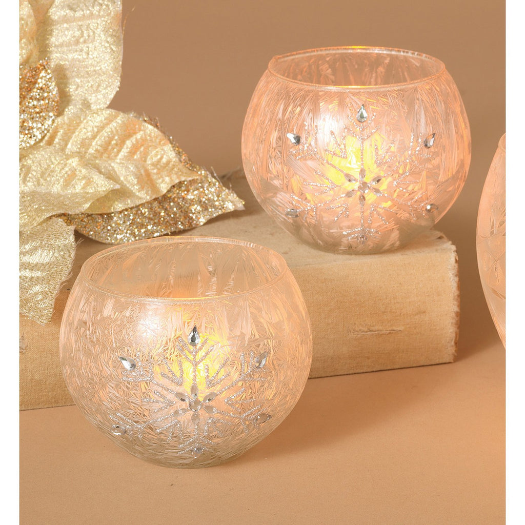 Set of 2 Winter Glass Votive and Battery Operated Candle Set with Snowflakes