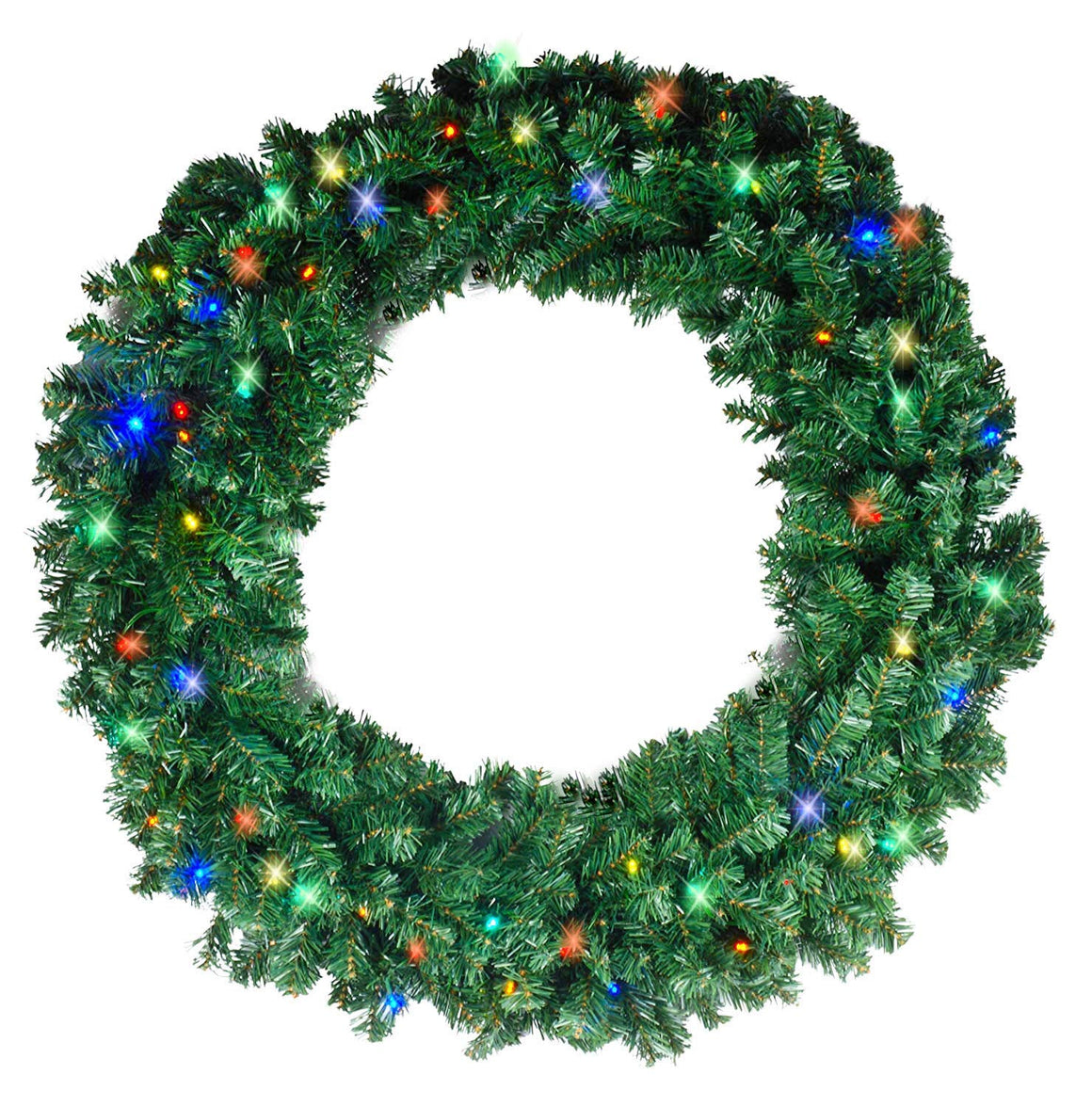 Ten Waterloo 34 Inch Large Balsam Pine Christmas Wreath with 360 Tips and 60 Multi LED Lights - Battery Operated with Timer - Artificial Pine Wreath