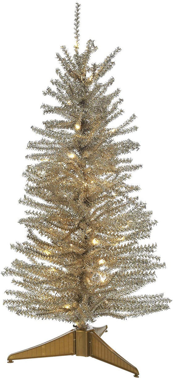 Allstate 24 Inch Lighted Platinum Gold Tinsel Tree, Battery Operated with Timer and Functions