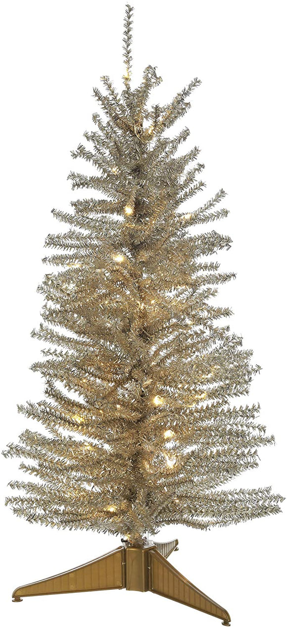 24 Inch Lighted Platinum Gold Tinsel Tree, Battery Operated with Timer and Functions