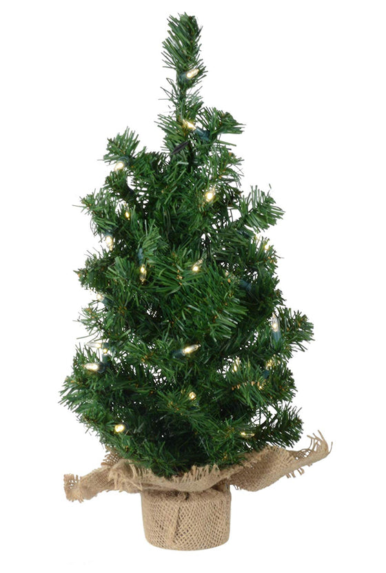 Lighted Christmas Pine Tree 18 Inches High with Battery Operated Timer and Warm White LED Lights - Burlap Wrapped Base- Artificial Pre-Lit Christmas Pine Tree - Indoor / Outdoor - Steady and Flashing