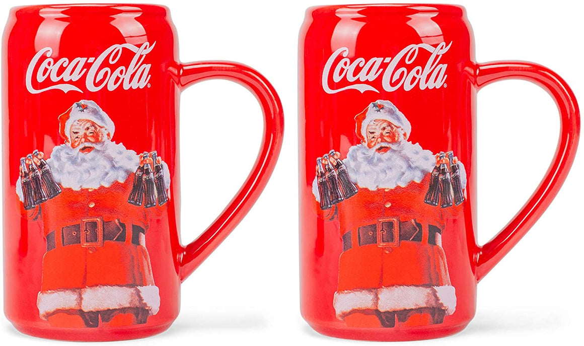 Red White Coca Cola Santa 12 ounce Dolomite Novelty Mug Set of 2