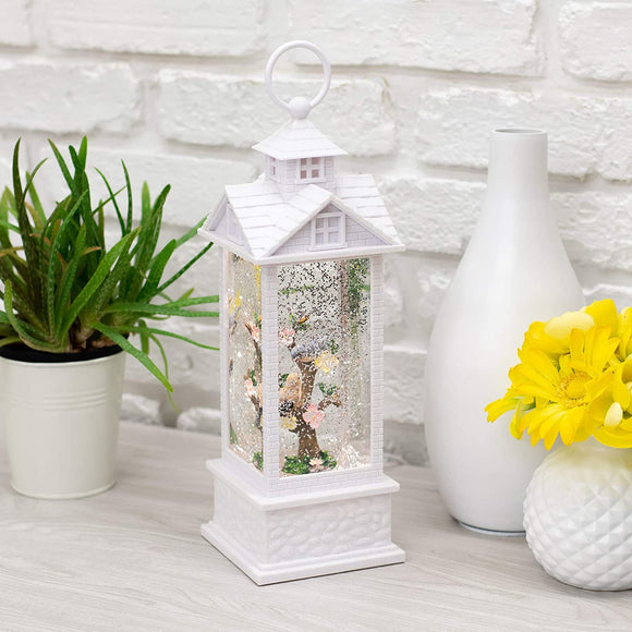 Raz Alabaster White Birds 12 x 4 Acrylic Decorative Tabletop Water Gazebo Lantern