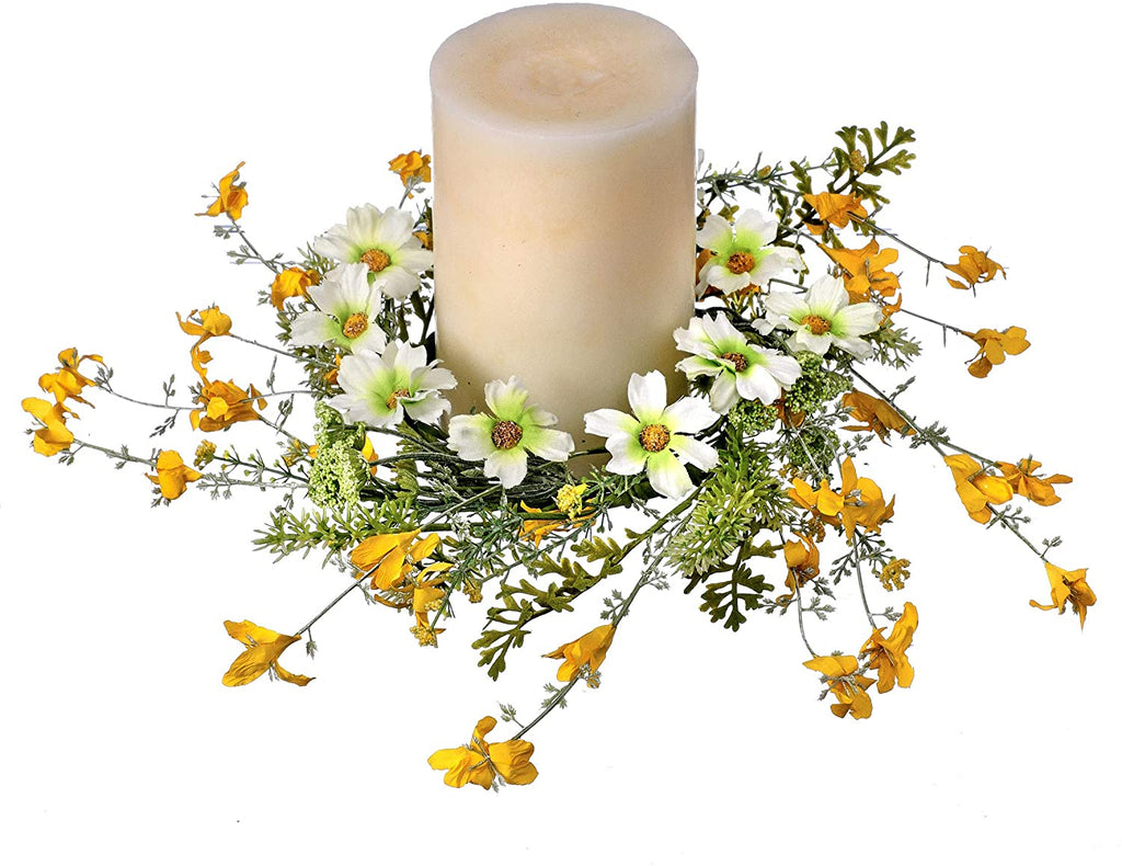 10 Inch Spring Daisy and Buttercup Candle Ring, Artificial Floral Yellow and White Blossoms