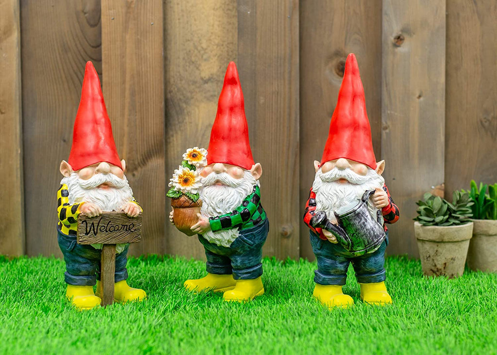 Grandpa Gnome Resin Decorative Outdoor Statue Set