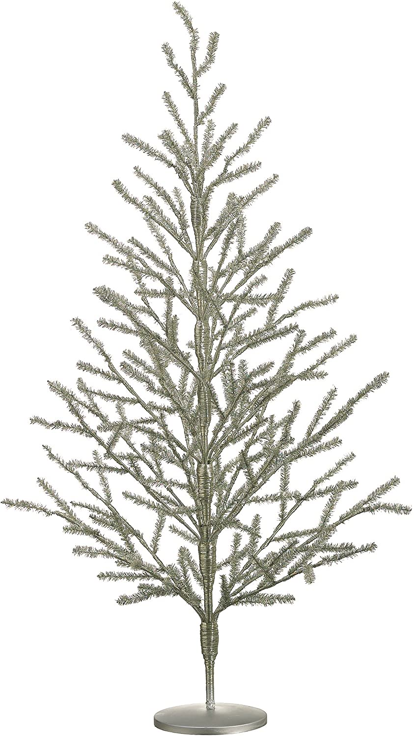 "40"" Hx30 D Tinsel Tree x178 Antique Silver"