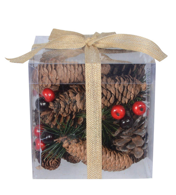 TenWaterloo Christmas and Holiday Pine Cones and Berries Bowl Filler/Vase Filler