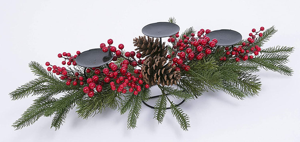 28 Inch Holiday Centerpiece Candle Holder with 3 Black Metal Pillar Candle Holders Pine Cones and Artificial Pine with Red Berries