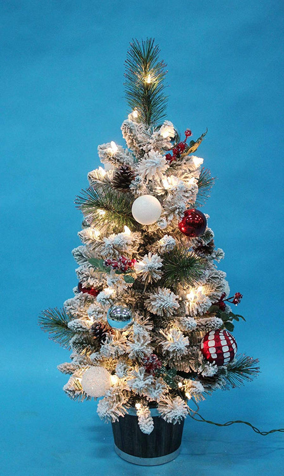 TenWaterloo Christmas Wonderful Winter Collection Snow Flocked Lighted Tree, 3 Foot, with Ornaments and Battery Operated Timer