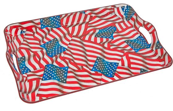 Patriotic Flag Serving Tray by Greg Giordano in Melamine 17 Inches x 11.75 Inches- Red, White and Blue American Flags