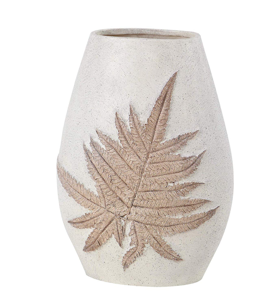 Ten Waterloo Natural Leaf Embossed Vase - Off White/Cream Finish- 14 Inches high x 10 Inches Wide