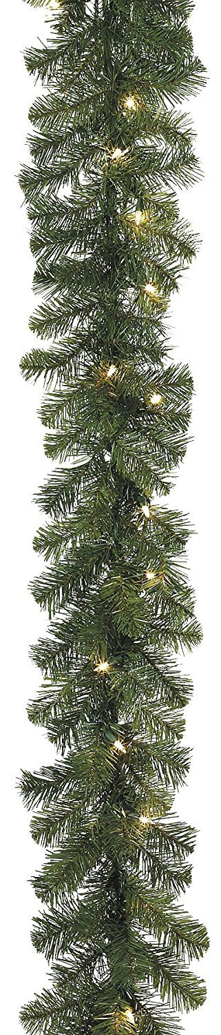 6 Foot Artificial Balsam Pine Christmas Garland With 120 Tips and 36 LED Lights - Battery Operated With Timer