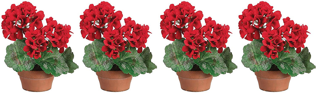 Set of 4 Red Geranium Plants in Terracotta Pots, Artificial Floral in Red and Green, 9 Inches High
