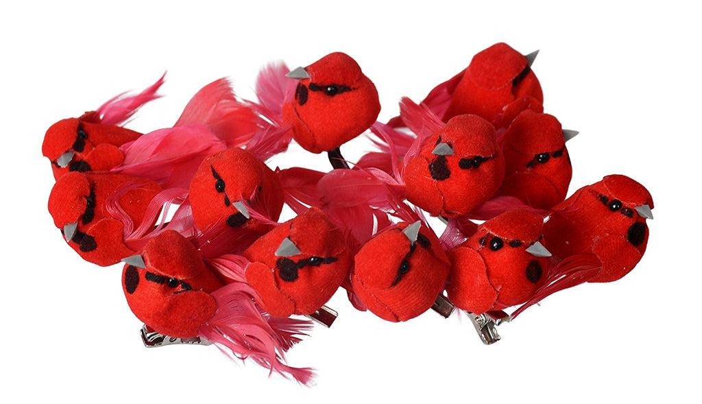 Set of 12 Mini Red Cardinal Birds Christmas Ornaments With Clips