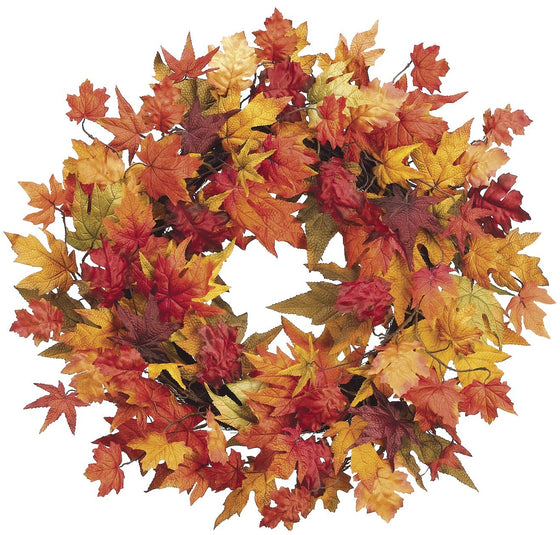 28 Inch Large Fall Wreath with Mixed Maple Leaves, Thanksgiving Wreath