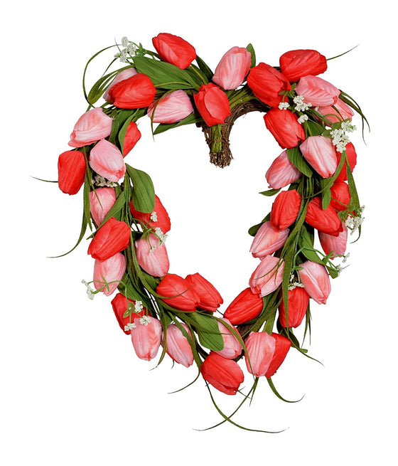 18 inch Pink and Red Tulip Heart Wreath on Natural Grapevine Base, Artificial Floral Front Door Wreath, Spring and Summer Wreath