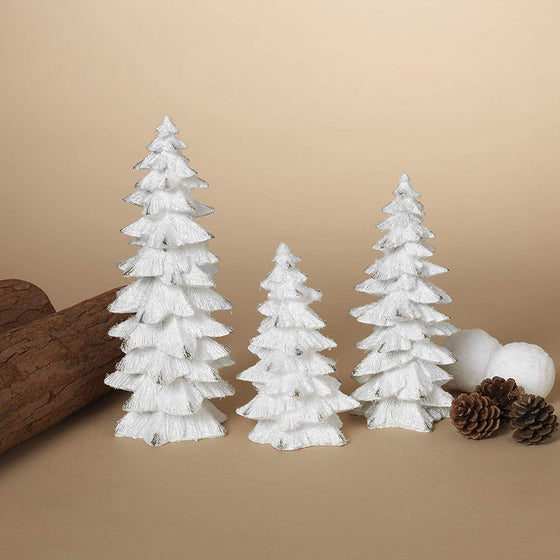 GER Set of 3 White Glittered Christmas Trees- 6 inches to 9.25 inches Tall