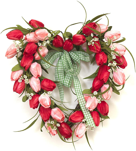 GER 18 inch Pink and Red Tulip Heart Wreath with Ribbon on Natural Grapevine Base, Artificial Floral Front Door Wreath, Spring and Summer Wreath