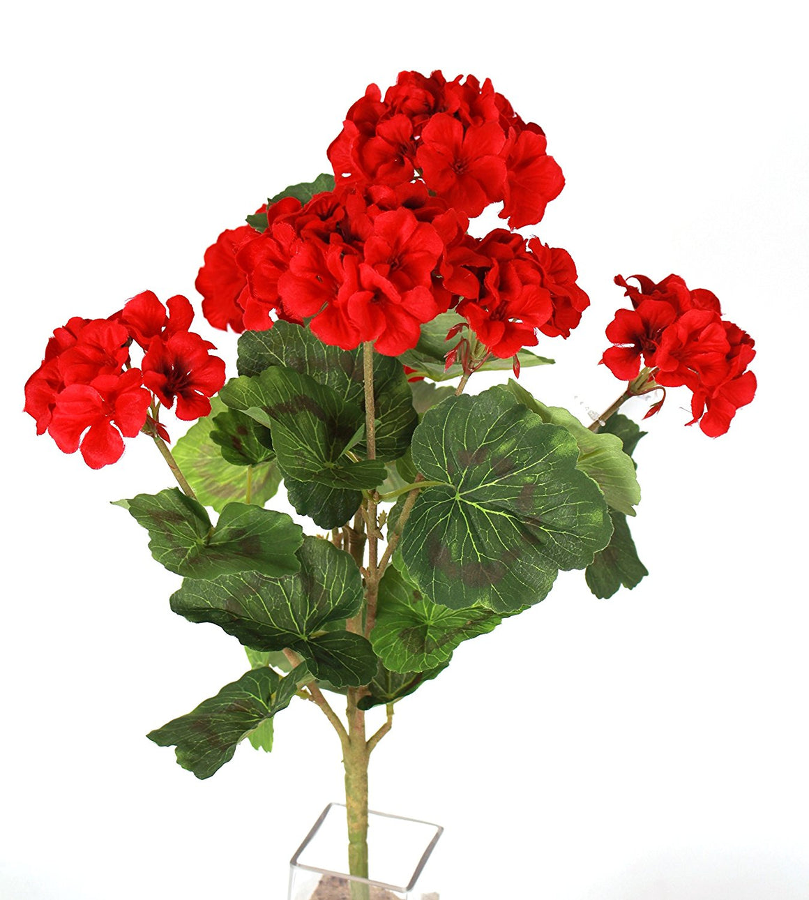 18 Inch Geranium Bush Red with 7 Flower Heads - Artificial Flower Bush