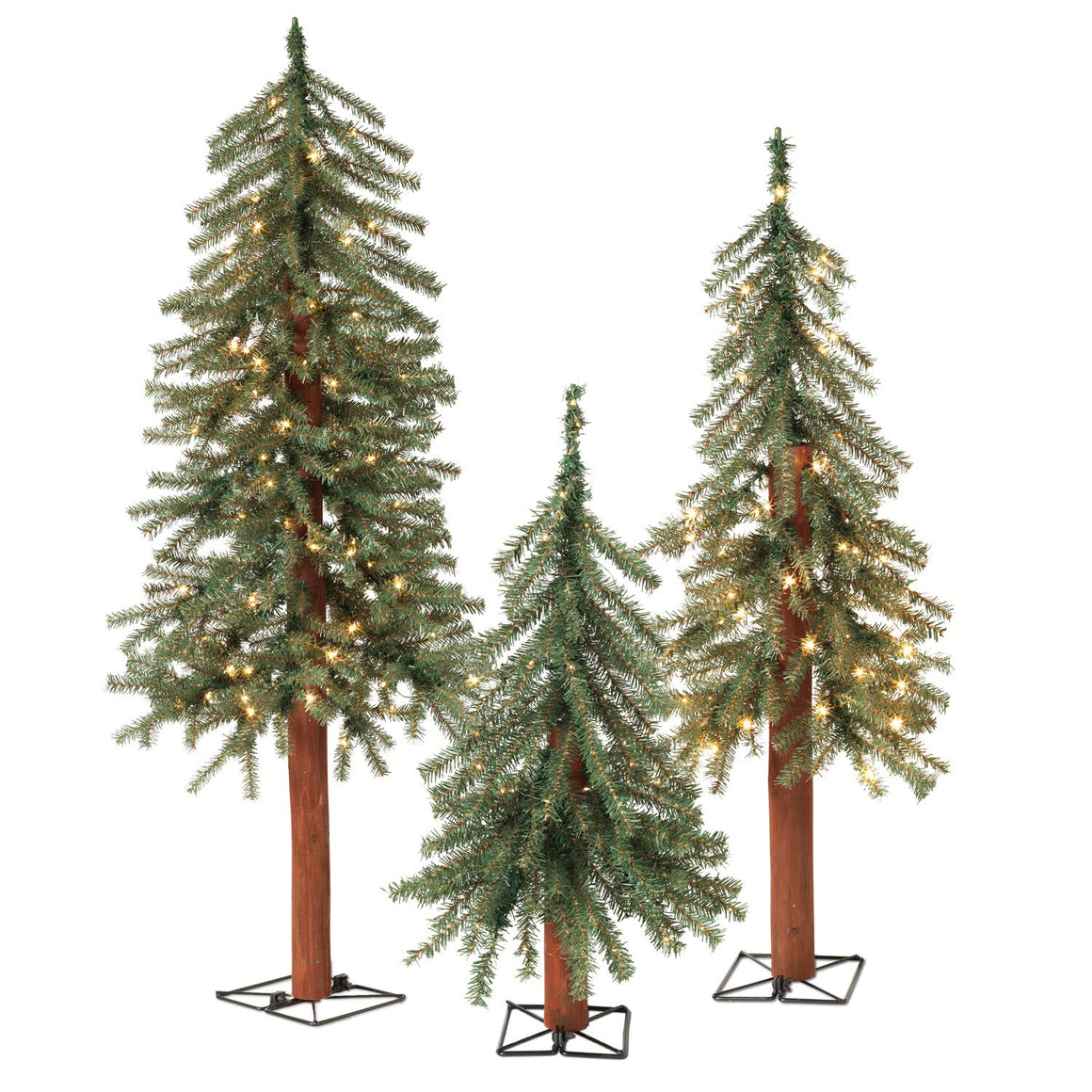 TenWaterloo Set of 3 Lighted Christmas Pine Trees with Wood Trunks- 2 Foot, 3 Foot and 4 Foot High Artificial Alpine Trees - Battery Operated