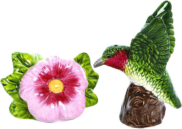 Hummingbird and Flower Ceramic Salt and Pepper Shaker Set