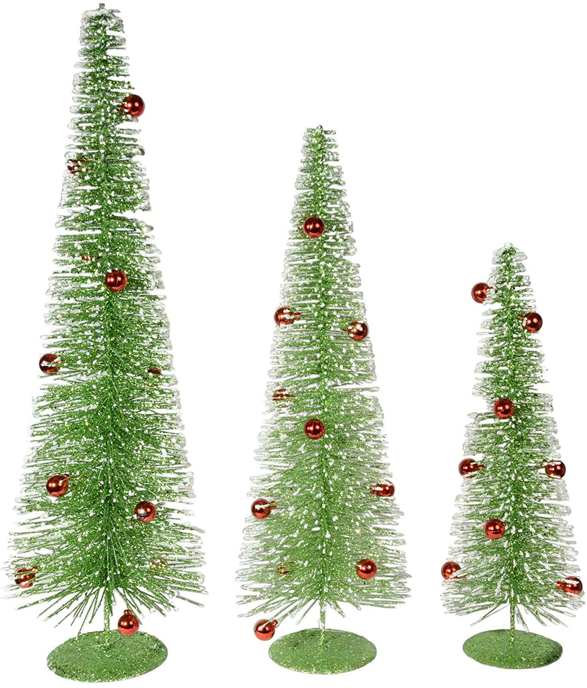 Set of 3 Green Sparkled Christmas Bottle Brush Trees with Red Ornaments, 16, 20 and 24 Inches High