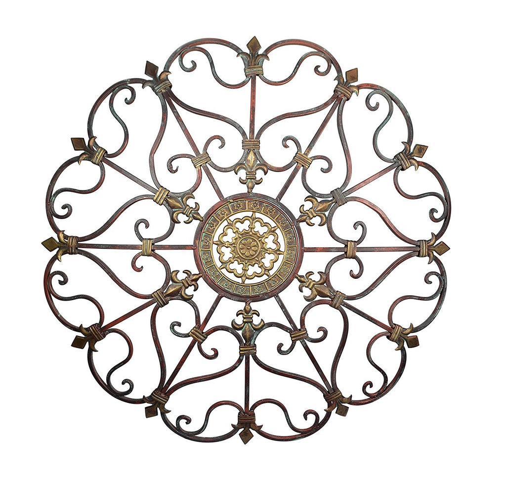29 Inch Diameter Convex Metal Wall Decor- French Country Fleur de Lis Design