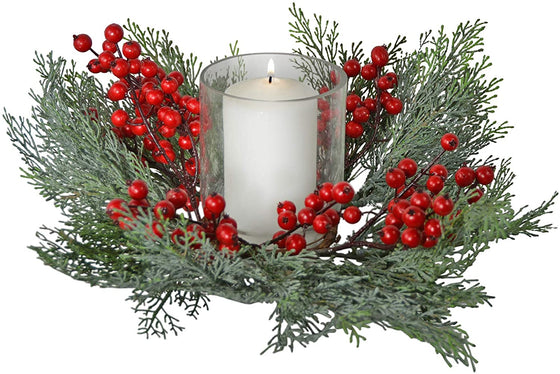 4 Inch Faux Berry and Cedar Candle Ring with Glass Hurricane, Christmas Pillar Candle Holder