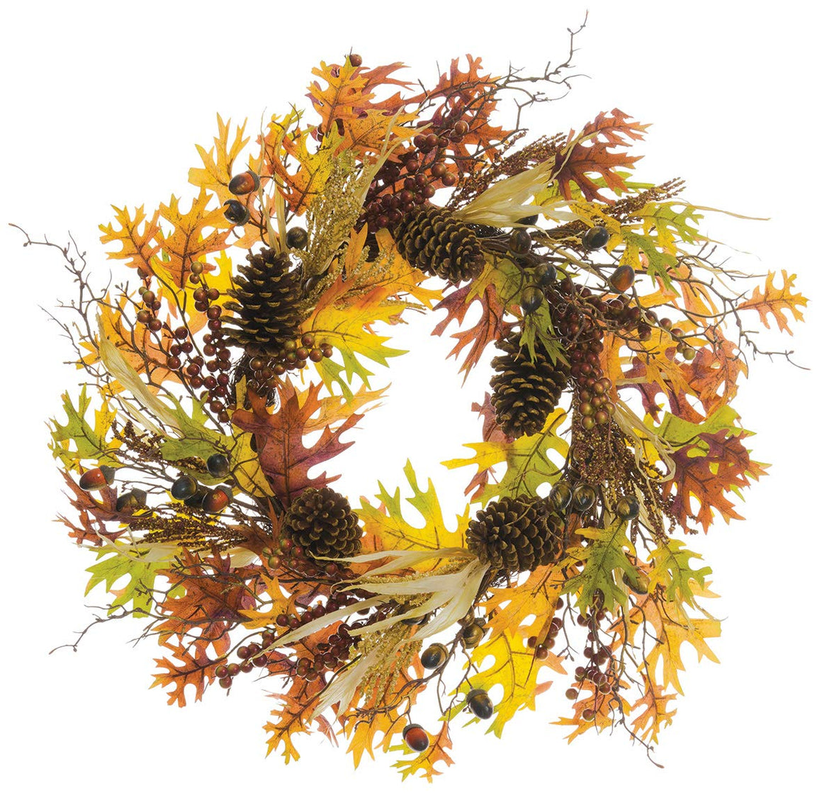 TenWaterloo 24 Inch Fall Wreath with Pine Cones, Berries and Acorns, Fall Leaves in Gold, Sage and Browns, Artificial Floral