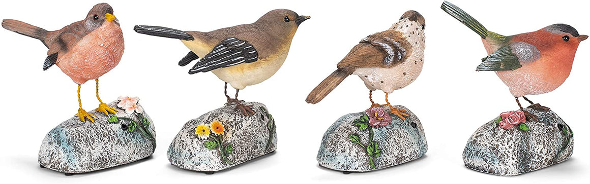 Transpac Peach Cream Bird On Rock Motion Sensor 5.5 x 6 Resin Decorative Outdoor Statue Set 4