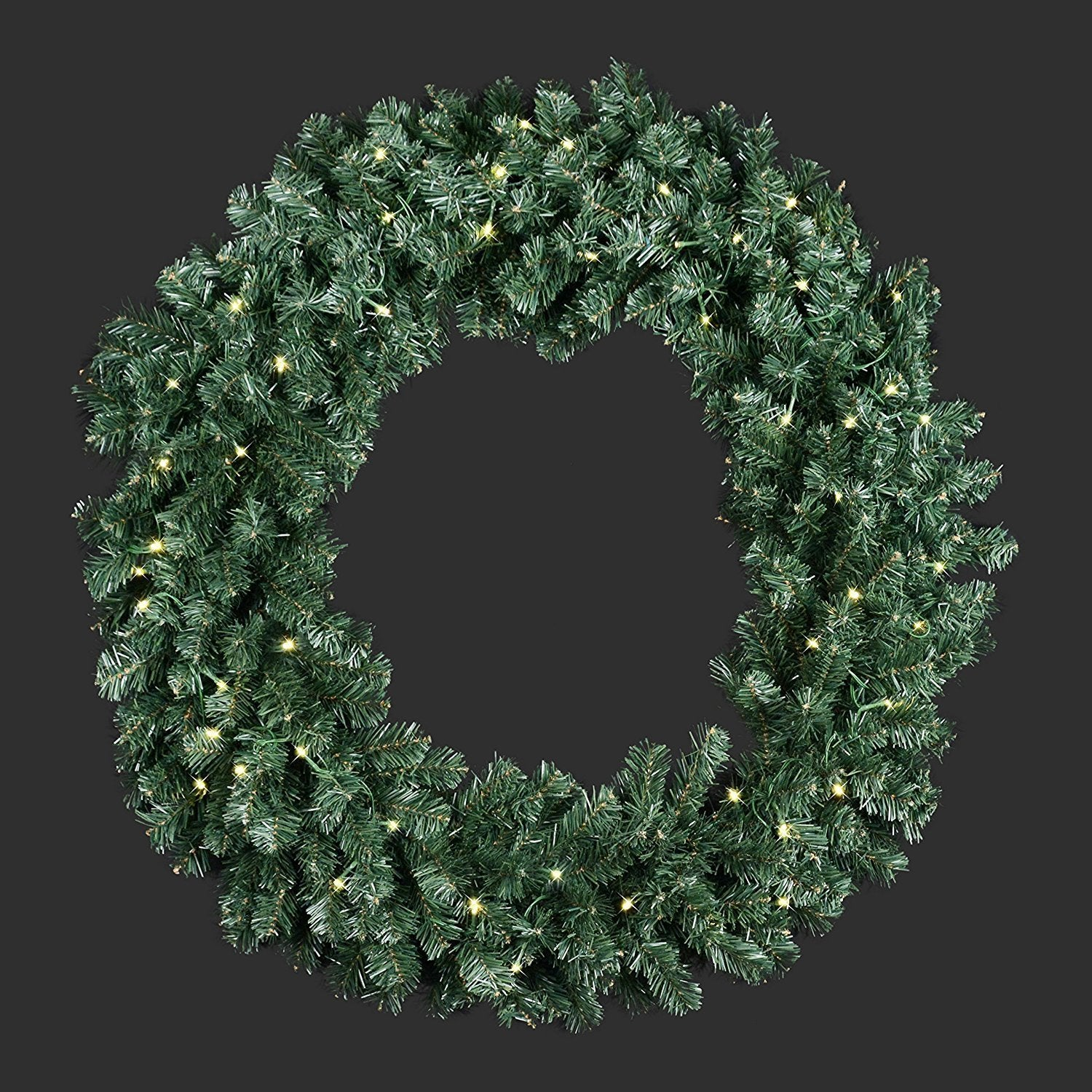 extra large 36 inch diameter balsam pine christmas wreath with 360 tips and 60 led lights battery operated with timer