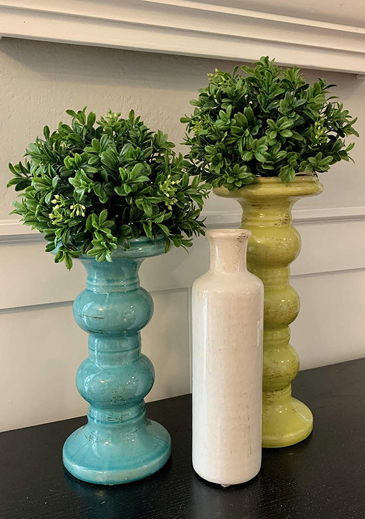 6.5 Inch Faux Boxwood Half Sphere Ball, Artificial Boxwood Half Globe Floral for Vase and Candlestick Toppers