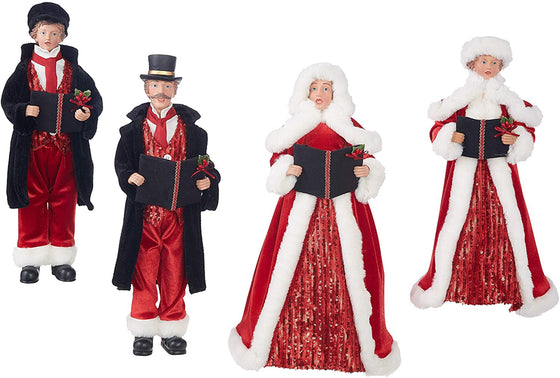 Set of 4 Dickens Family Christmas Carolers in Red and Black Velvet and White Fur Trim 16 to 18 Inches High - Large Christmas Display