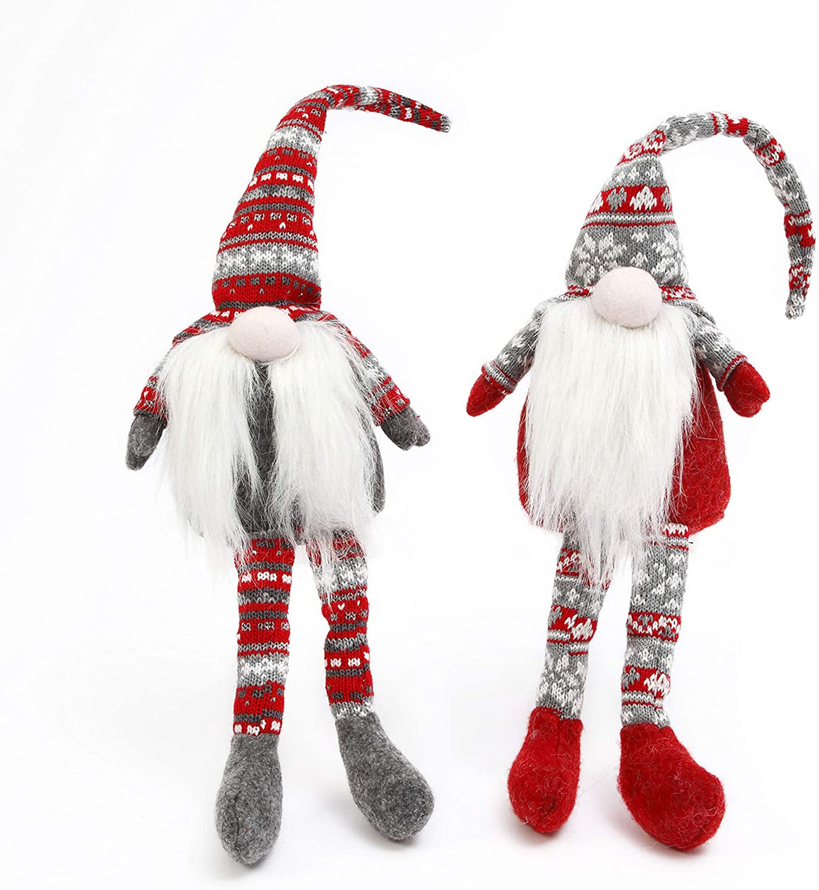 Set of 2 Gnome Shelf Sitters, Plush Christmas Holiday Figurines in Knitted Red, White and Grey